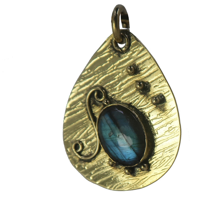 Labradorite Pendant Boutique Tibetan Faceted Rainbow Sheen Gemstone B01 (Ripple)