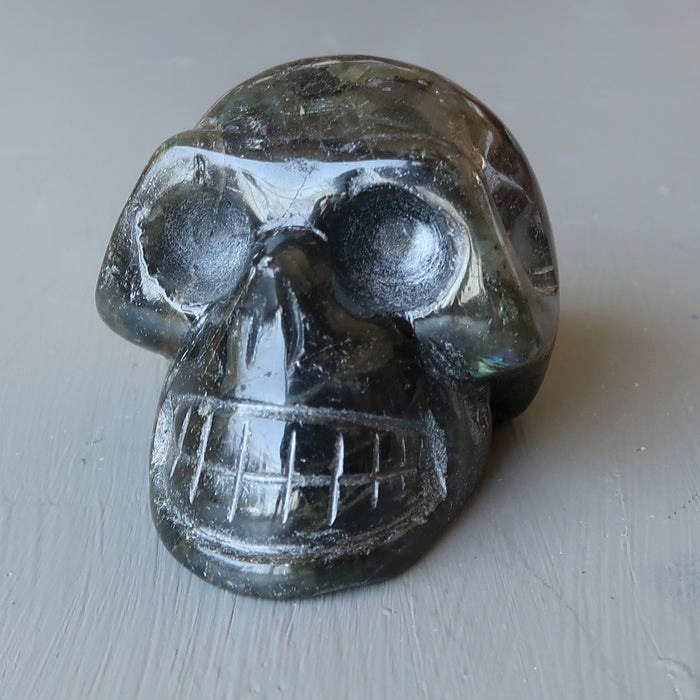 labradorite rainbow flash skull