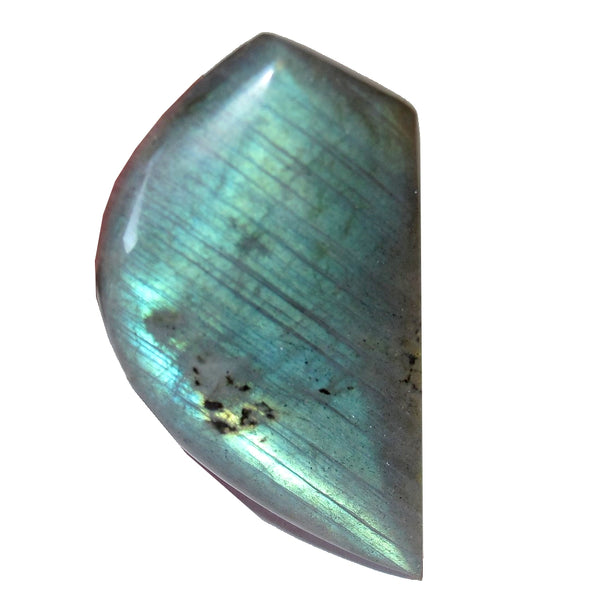 "Labradorite Cabochon Collectible Leaf Stone Silver Rainbow Spectrolite C50 (1.7"" Teal Stripes)"