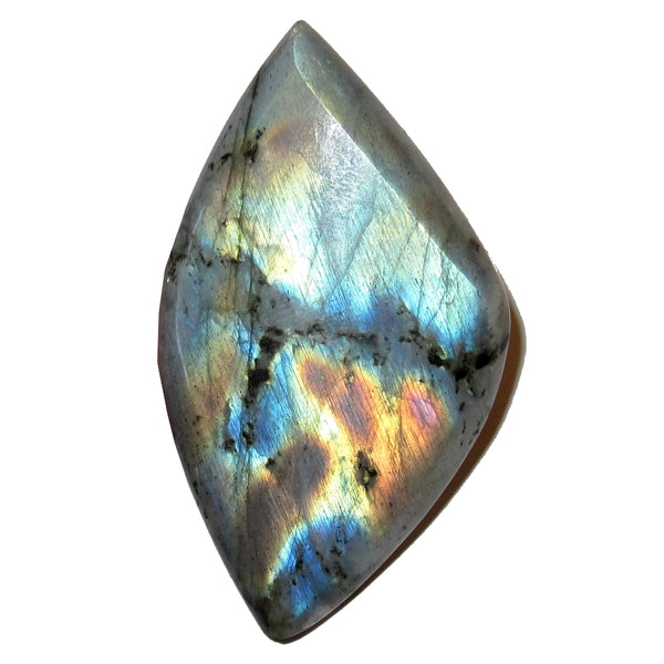 "Labradorite Cabochon Collectible Leaf Stone Silver Rainbow Spectrolite C50 (1.8"" Colorful Atlas)"