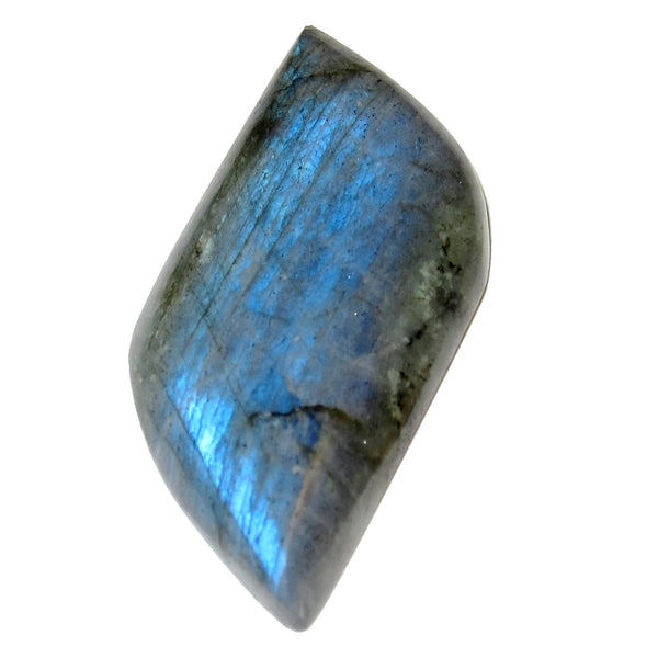 "Labradorite Cabochon Collectible Leaf Stone Silver Rainbow Spectrolite C50 (2.1"" Blue Electric)"