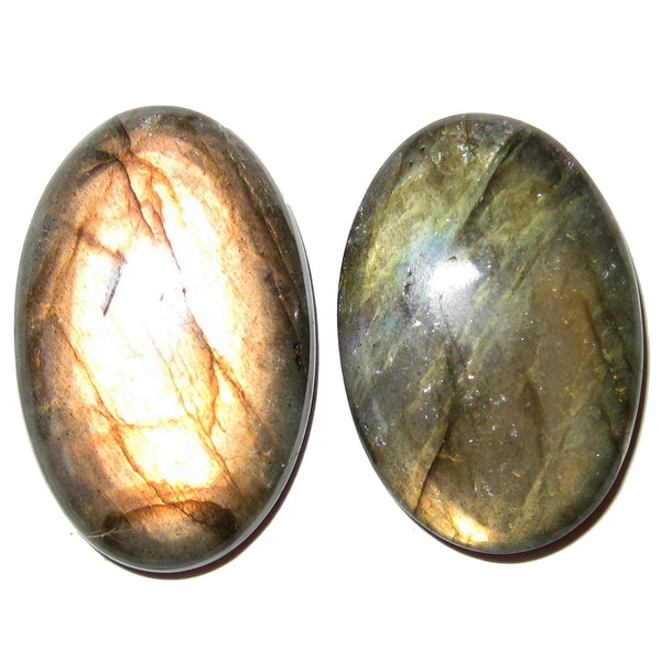 "Labradorite Cabochon 1.3"" Collectible Pair of Oval Healing Stones Golden Orange Sunrise C70"