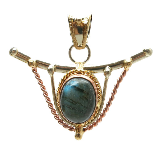 Labradorite Pendant 17 Sheen Stone Oval Brass Copper - I Dig Crystals