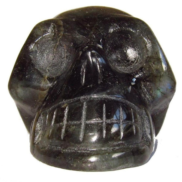 Labradorite Skull 02 Pretty Rainbow Crystal Stone Alien Energy Communication Statue Stone 3""