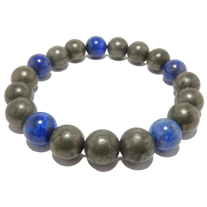 lapis lazuli and pyrite round beaded stretch bracelet