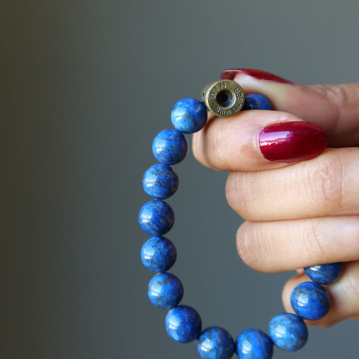 win 9mm luger bullet inscription beaded on a lapis stretch bracelet