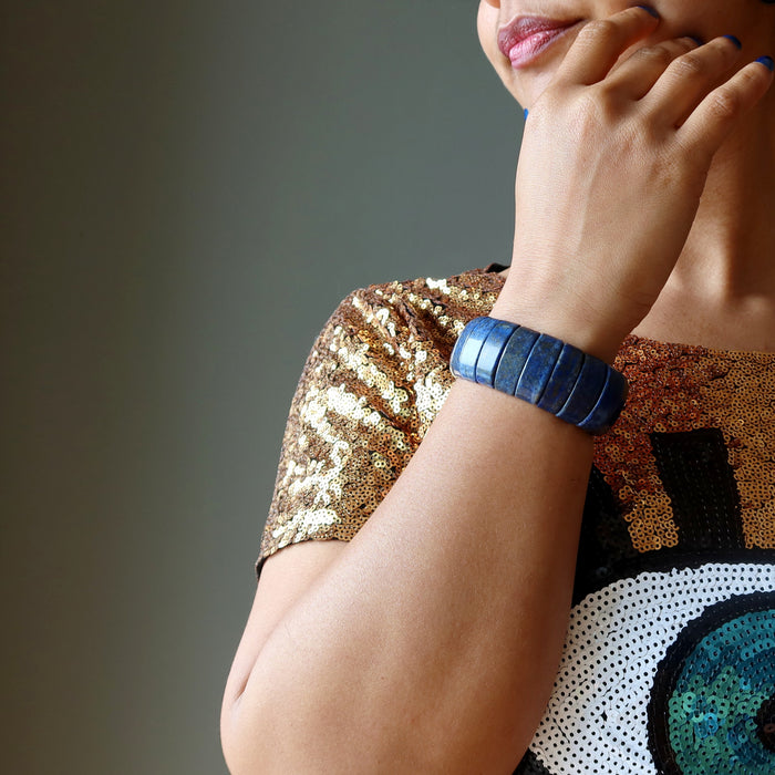 sheila of satin crystals wearing chunky lapis bracelet