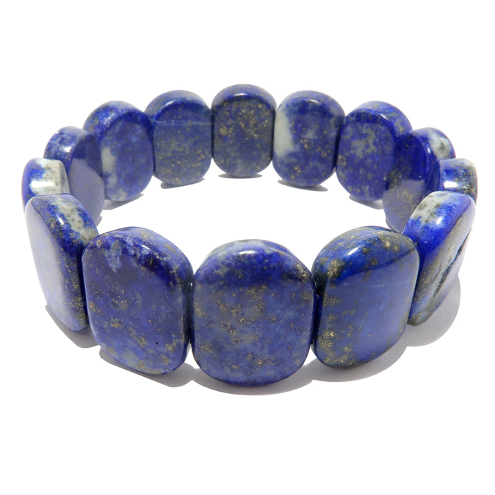 rounded rectangle lapis beaded stretch bracelet