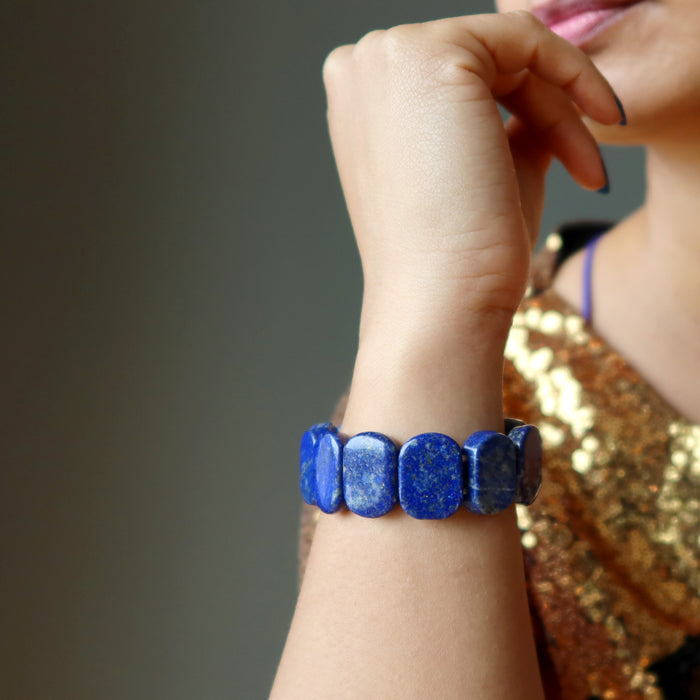 sheila of satin crystals wearing rounded rectangle lapis beaded stretch bracelet