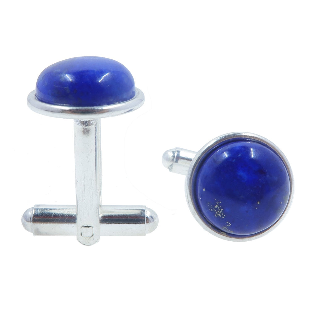 Lapis Cufflinks Silver 12mm Genuine Blue Lazuli Round Gemstone