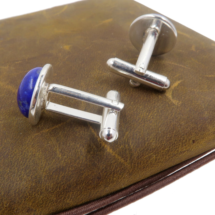 Lapis Cufflinks Silver Pair Genuine Blue Lazuli Starry Sky Gemstone