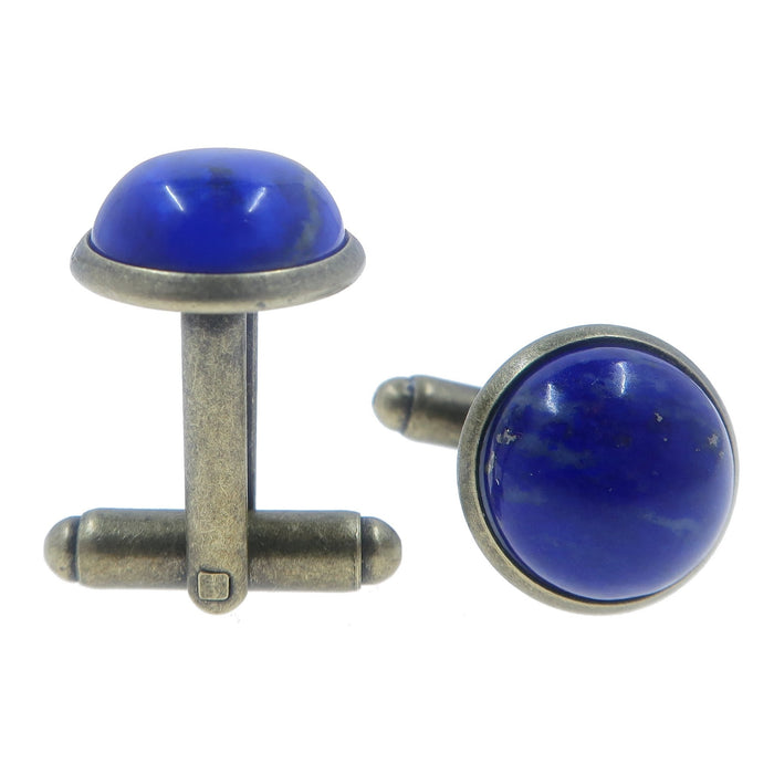 blue lapis lazuli round cufflinks in antique bronze
