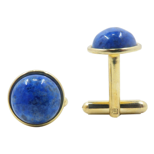 Lapis Cufflinks Gold 12mm Round Genuine Blue Gemstone Natural Stone Bullet Back Pair B01