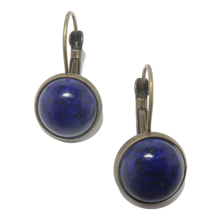 round lapis lazuli in antique bronze leverback earrings
