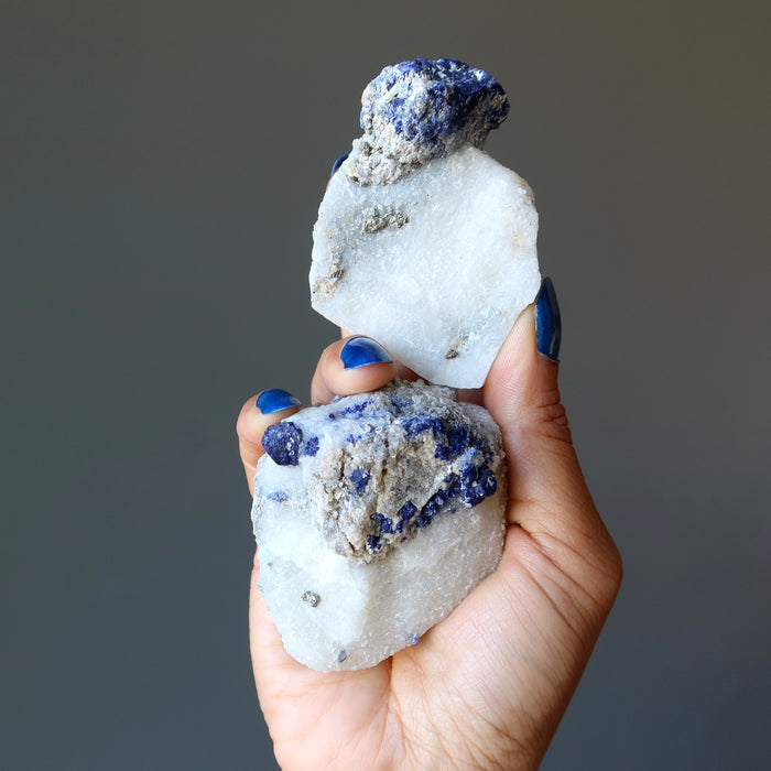 hand holding pair of blue lazurite and gold pyrite on white calcite raw minerals