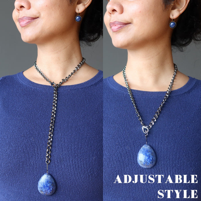 Lapis Lazuli Adjustable Statement Necklace Peaceful Blue Strength