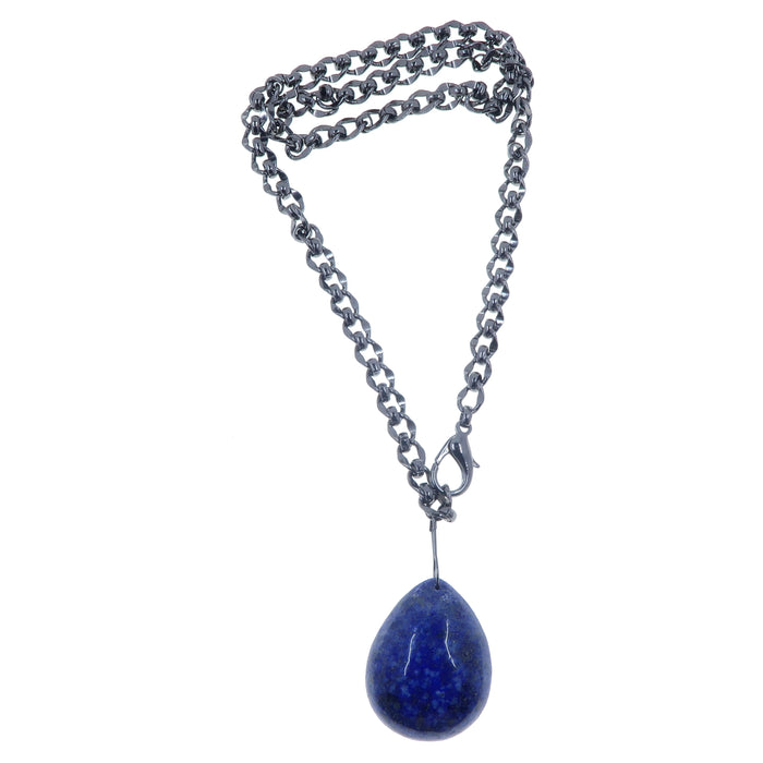large lapis lazuli drop pendant on gunmetal chain necklace