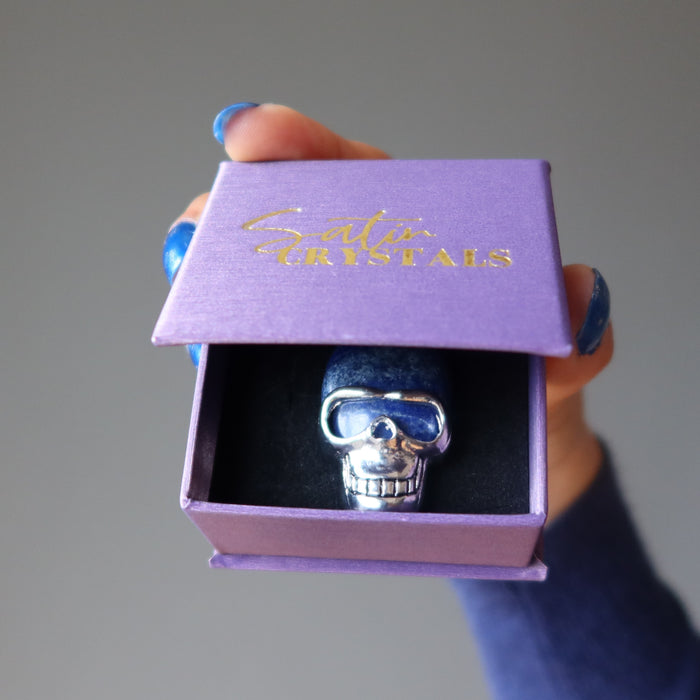 lapis lazuli silver skull pendant in purple satin crystals gift box