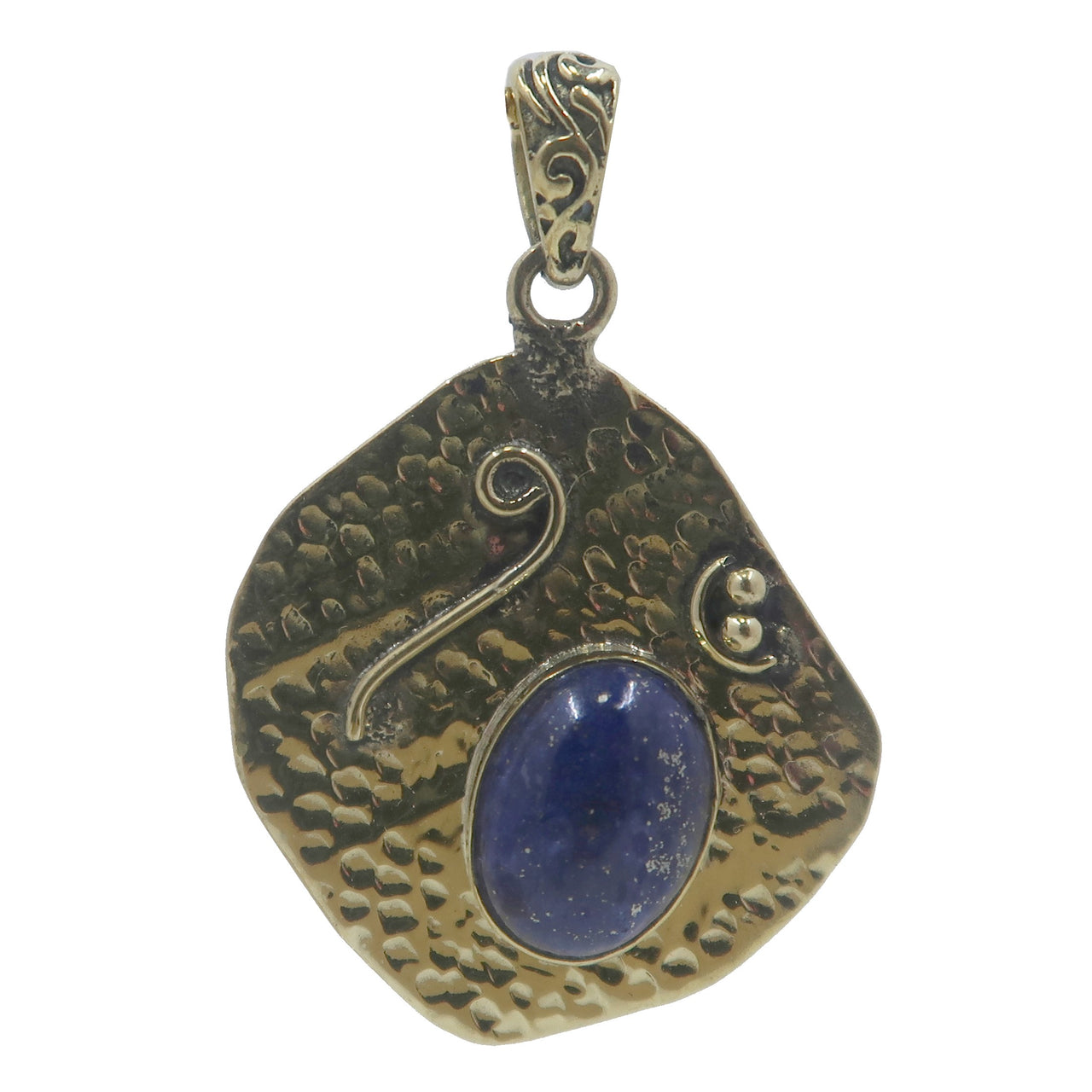 Lapis Pendant Boutique Blue Gemstone Oval Fancy Gold Metal Tibetan Royal Crystal B01 (Sand)