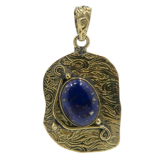 Lapis Pendant Boutique Blue Gemstone Oval Fancy Gold Metal Tibetan Royal Crystal B01 (Wave)