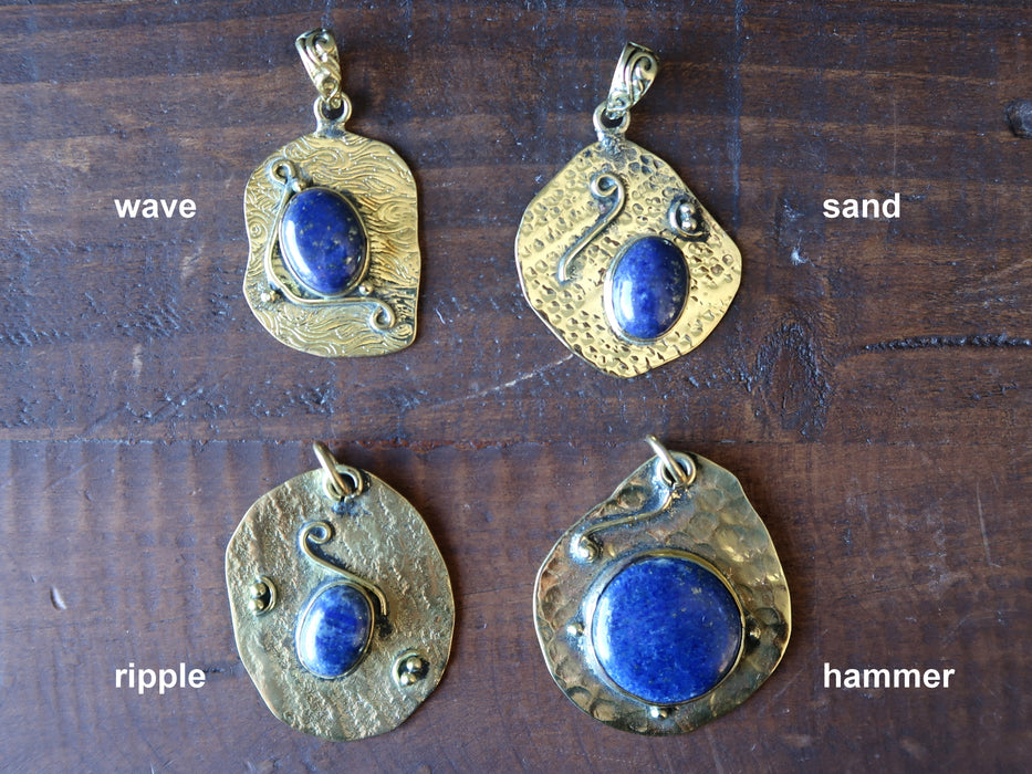 Lapis Pendant Hammered Tibetan Metal Royal Blue Meditation Stone