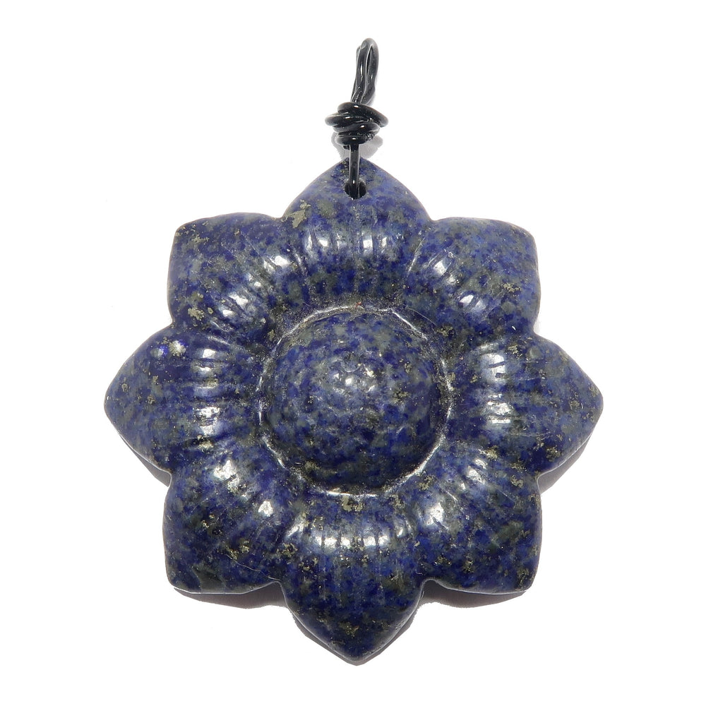 Lapis Flower Pendant Carved Blue Genuine Gemstone Healing Charm