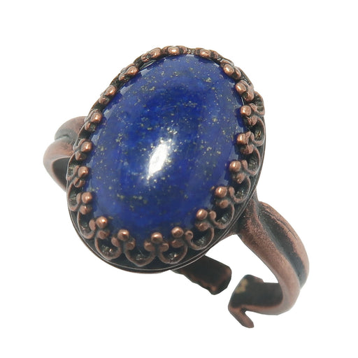 blue and gold lapis oval in antique copper adjustable ring