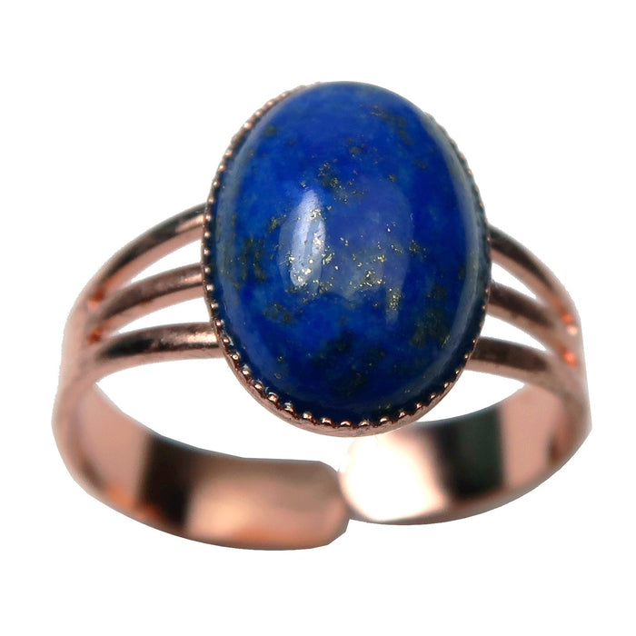 Lapis Ring Royal Blue Starry Night Gemstone in Adjustable Copper