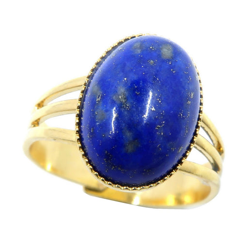 lapis lazuli gemstone in gold tone adjustable ring