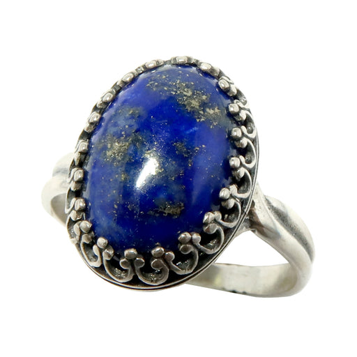 Lapis Ring Sterling Silver Adjustable Genuine Blue Gemstone (Size 5-8)