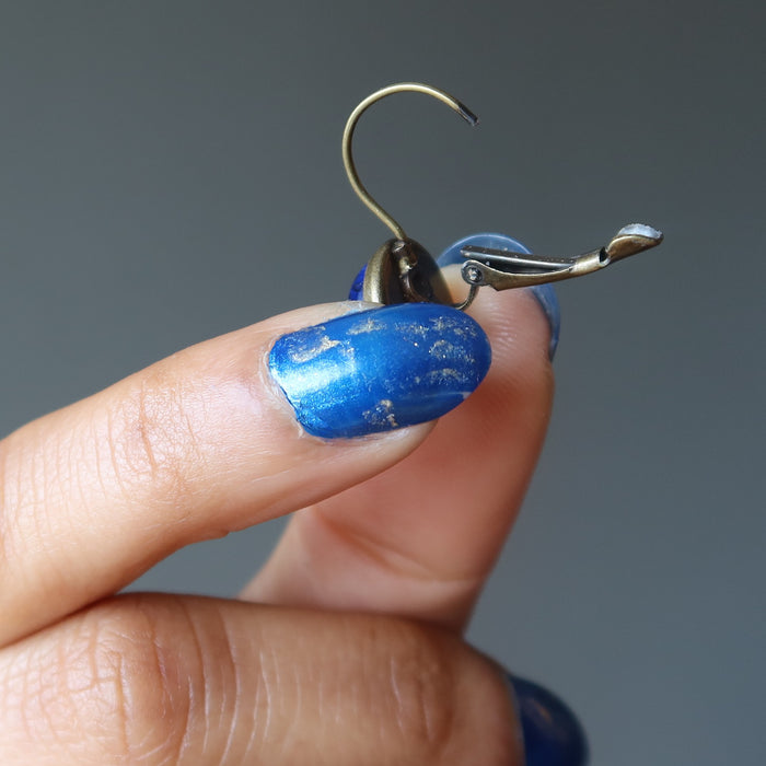 showing the leverback lapis earring in open position