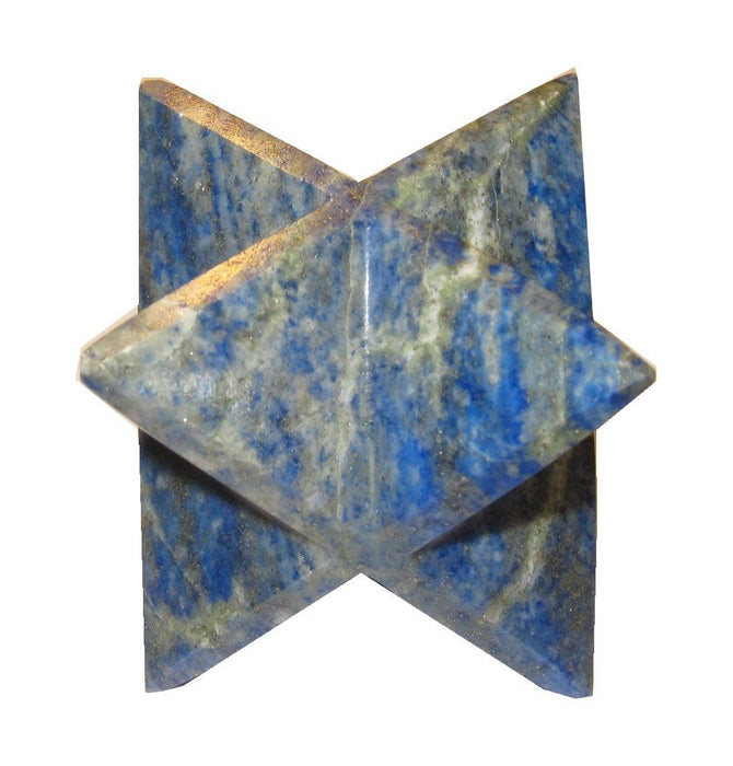 "Lapis Merkaba 3.4"" (2"" x 2"" x 2"") Collectible  Royal Blue Crystal Sacred Geometry Star Polygon Mineral Rock C02"