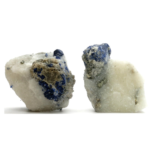 pair of blue lazurite and gold pyrite on white calcite raw minerals