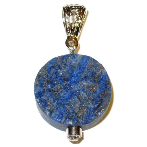 "Lapis Pendant 1.5"" Round Natural Blue Lazuli Crystal Healing Rough Stone Charm 1.5"""