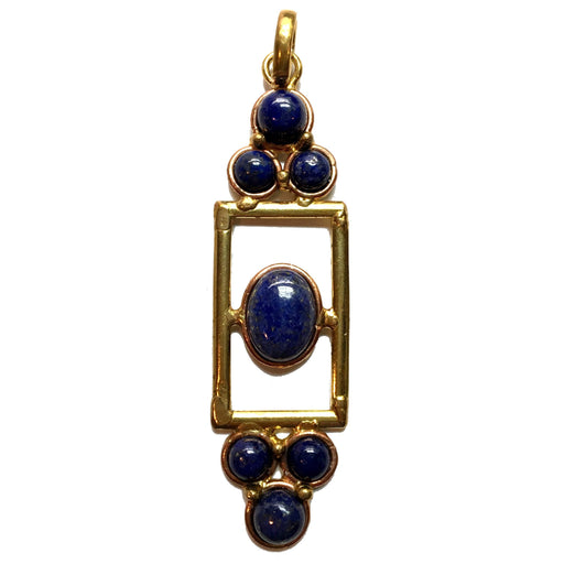 lapis lazuli fancy pendant with 7-gemstones in copper and gold metal