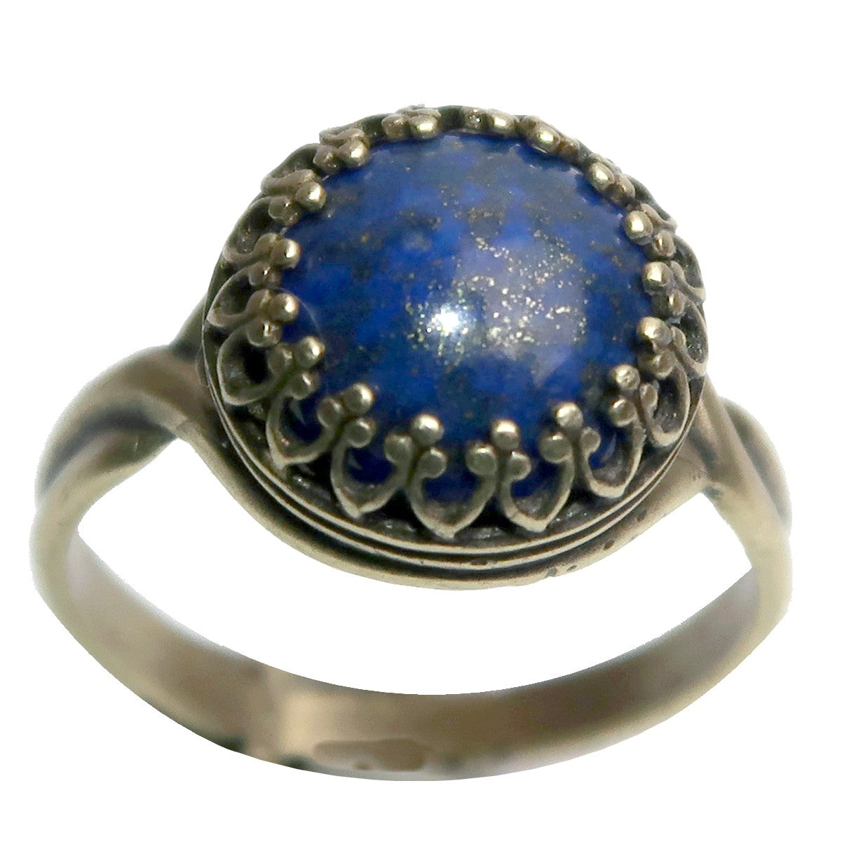 Lapis Ring 6-8 Boutique Blue Round Deluxe Gemstone Pyrite Adjustable B01 (Antiqued Gold)