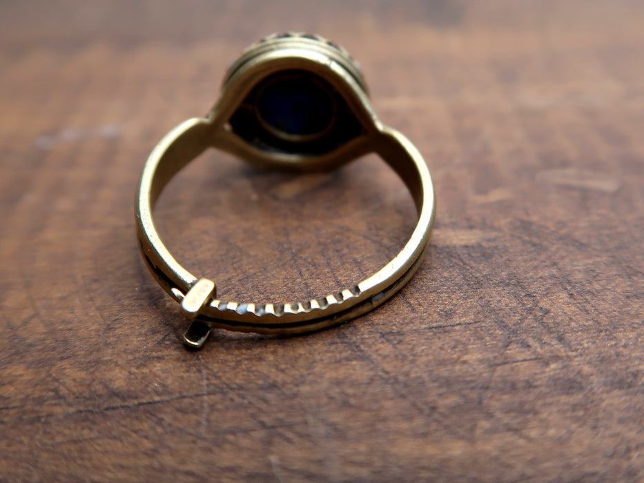 Lapis Ring Antiqued Gold Adjustable Genuine Blue Round Gemstone (Size 6-8)