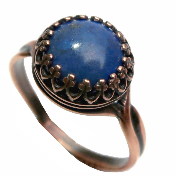 Lapis Ring 6-8 Boutique Blue Round Deluxe Gemstone Pyrite Adjustable B01 (Antiqued Copper)