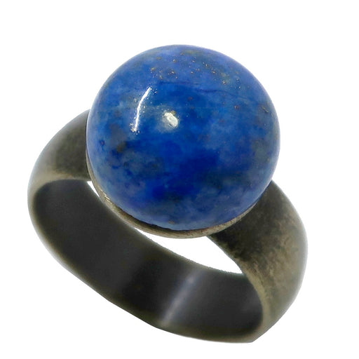 Lapis Ring 12mm Boutique Blue Round Crystal Healing Antiqued Brass B03 (Size 7.25)