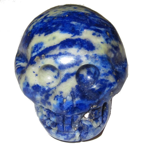 Lapis Skull 01 Blue White Crystal Carving Pyrite Mineral Stone Rock Hound Gift Collectible 1.5""