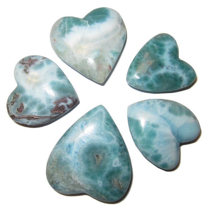 Larimar Heart Eternal Honeymoon Love Energy Tropical Stone Aqua Blue Green P01
