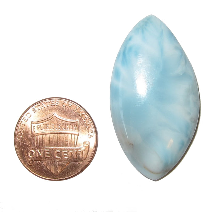 "Larimar Cabochon 1.5"" Collectible Marquise Gemstone Blue Angel Eye Crystal Mediation Zen Energy Healing C12"