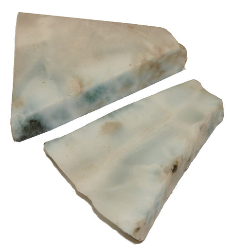 pair of triangular larimar slabs