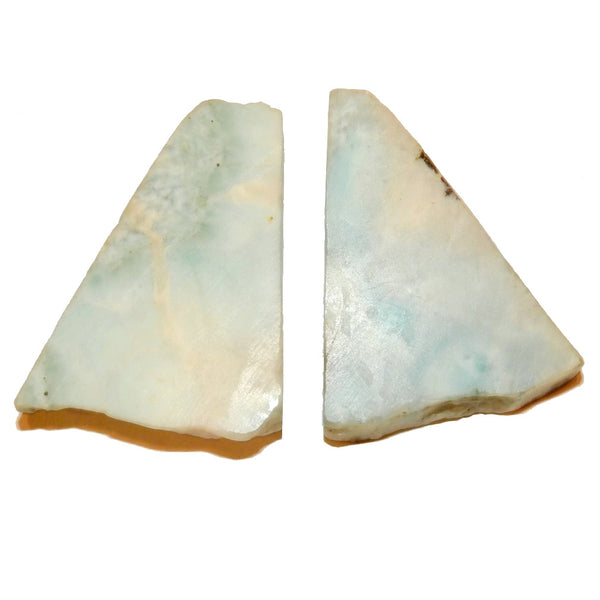 "Larimar Raw Gemstone Slice 2.2"" Collectible Cool Blue Triangle Pair, Natural Meditation Palm C73"