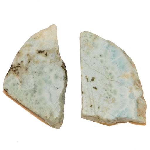 "Larimar Slice 2.2"" Collectible Gorgeous Pair of Genuine Blue Gemstone Aura Healing Crystals C74"