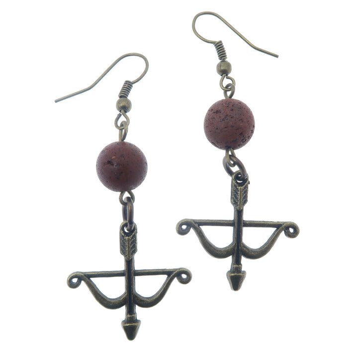 "Lava Earrings 2.3"" Archery Bow Arrow Red Volcanic Stone Essential Oil Diffuser"