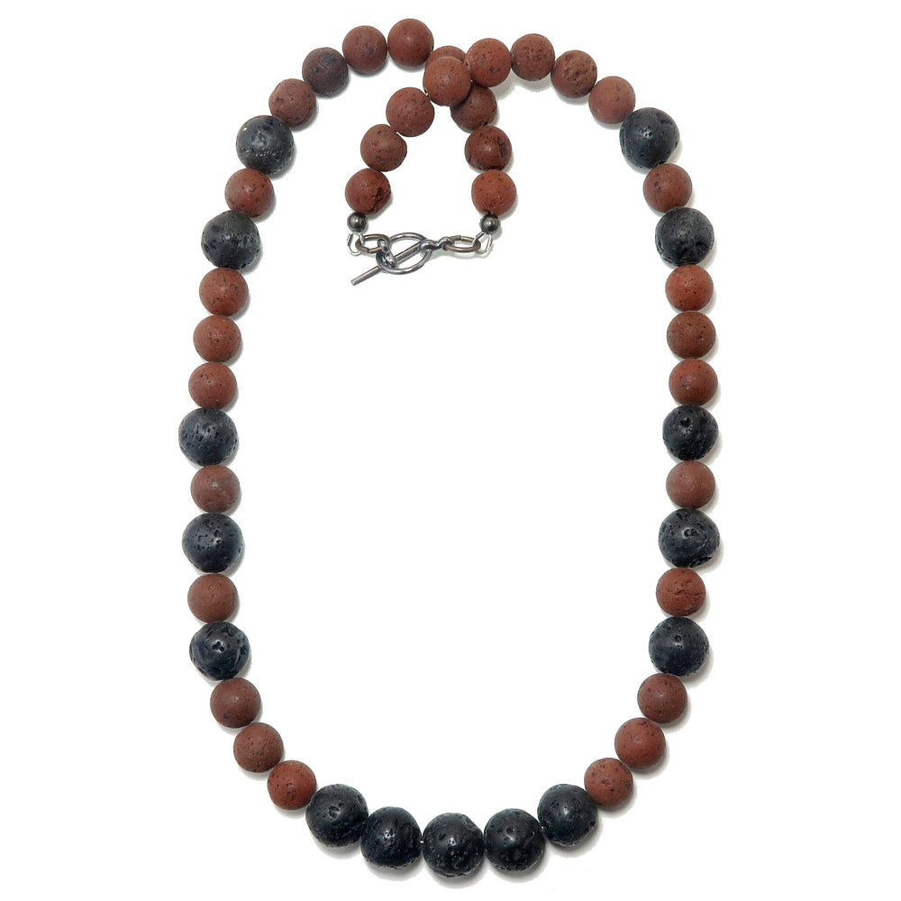 Lava Necklace Red & Black Organic Stone Round Earthy Essential Oil Diffuser