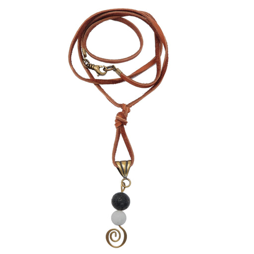 "Lava Necklace 26"" Boutique Brown Leather White Howlite Black Yin Yang Stone Spiral B02"