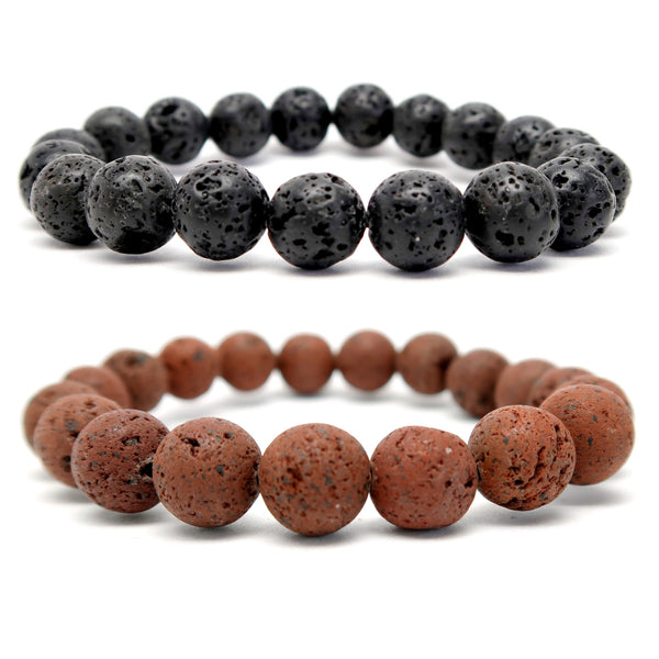 Lava Bracelet 9mm Boutique Set Black & Red Volcanic Round Earthy Stretch Pair B01