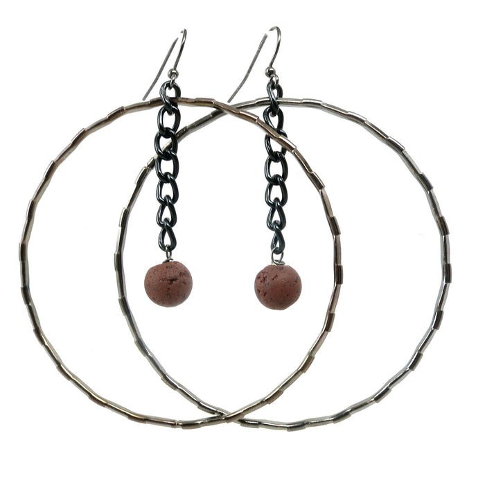 Lava Earrings 02 Hoop Red Volcanic Stone Rock Gunmetal - I Dig Crystals
